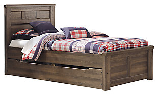 Juararo Twin Panel Bed with Trundle or Storage, Dark Brown, large