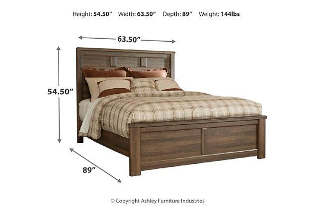 Juararo Queen Panel Bed, Dark Brown, large