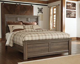 Juararo Queen Panel Bed, Dark Brown, rollover