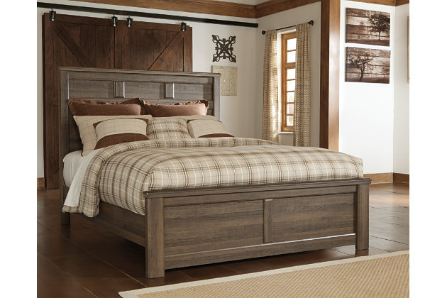 Juararo Queen Panel Bed, Dark Brown, large