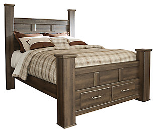 Juararo Queen Poster Bed with 2 Storage Drawers, Dark Brown, large
