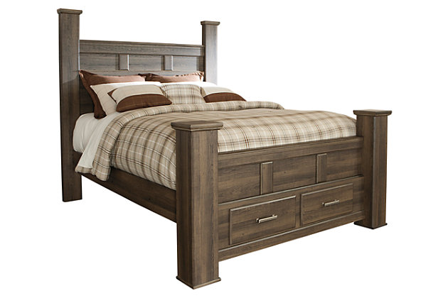 Juararo Queen Poster Bed with Storage, Dark Brown, large