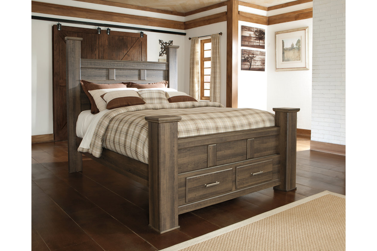 Juararo Queen Poster Bed With 2 Storage Drawers Ashley Furniture Homestore
