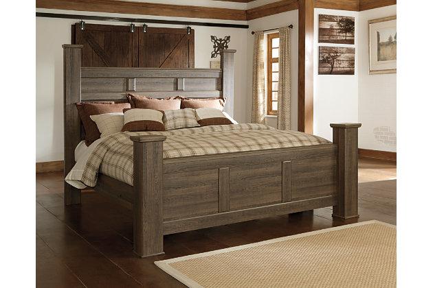 Juararo California King Poster Bed, Dark Brown, large