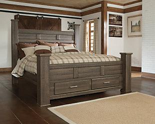 Juararo King Poster Bed with 2 Storage Drawers, Dark Brown, large