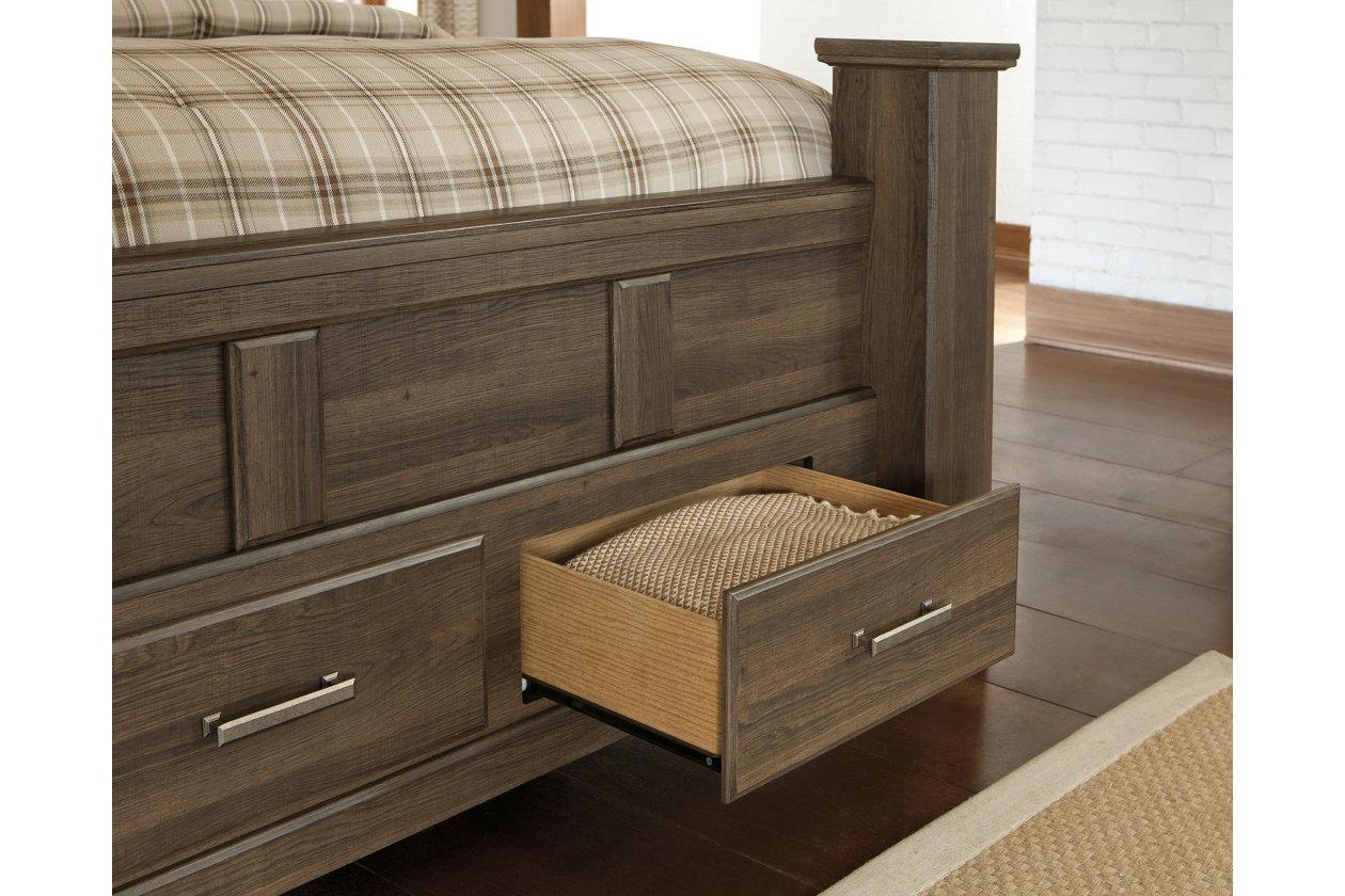 Juararo King Poster Bed With 2 Storage Drawers Ashley Furniture Homestore