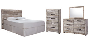 Effie Queen/Full Panel Headboard Bed with Mirrored Dresser and Chest, Whitewash, rollover