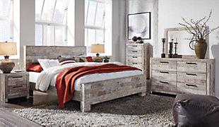 Effie King Panel Bed, Whitewash, large