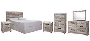 Effie Queen/Full Panel Headboard Bed with Mirrored Dresser, Chest and 2 Nightstands, Whitewash, rollover