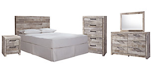 Effie Queen/Full Panel Headboard Bed with Mirrored Dresser, Chest and Nightstand, Whitewash, rollover