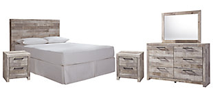 Effie Queen/Full Panel Headboard Bed with Mirrored Dresser and 2 Nightstands, Whitewash, large