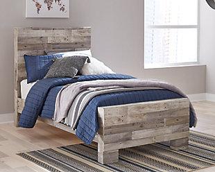 Effie Twin Panel Bed, Whitewash, rollover