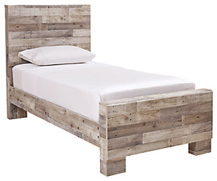 Effie Twin Panel Bed, Whitewash, large