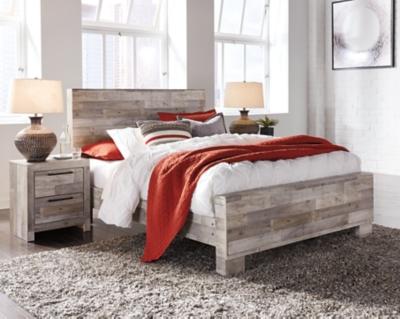 Effie Queen Panel Bed, Whitewash, large