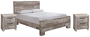 Effie Queen Panel Bed with 2 Nightstands, , large