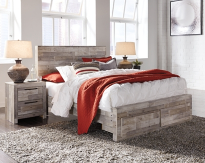 Picture of: Effie Queen Panel Bed With 2 Storage Drawers Ashley Furniture Homestore