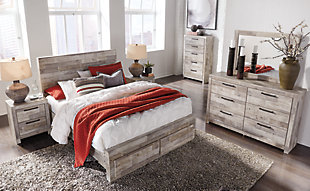 Effie Queen Panel Bed with 2 Storage Drawers, Whitewash, large