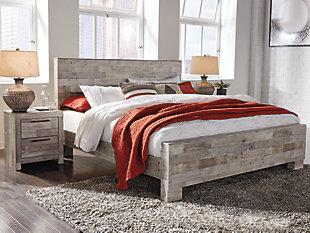 Effie King Panel Bed, Whitewash, rollover