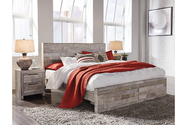 Effie King Panel Bed with Storage, Whitewash, large