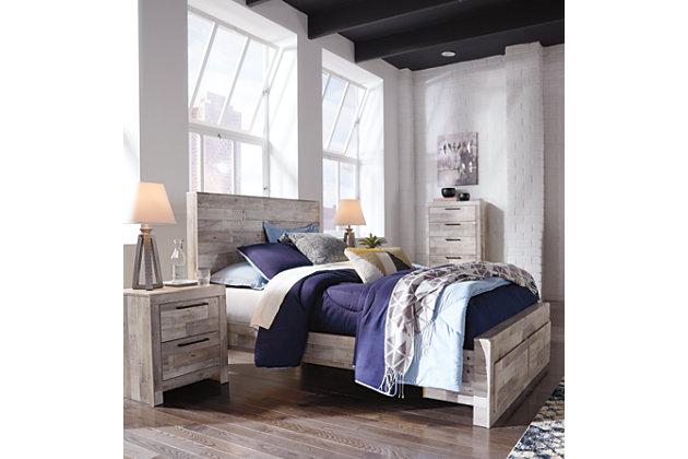 Effie Full Panel Bed with Storage, Whitewash, large