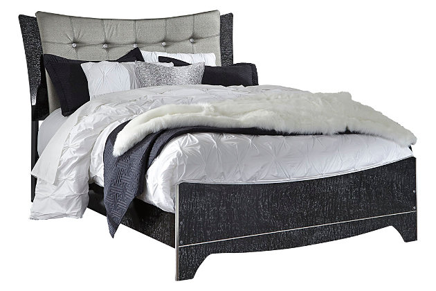 Amrothi Queen Upholstered Panel Bed, Black, large