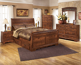 Timberline Queen Sleigh Bed with Under Bed Storage, , large