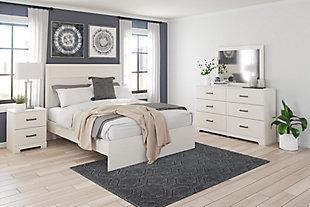 Stelsie Queen Panel Bed, White, rollover