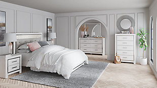 Altyra Queen Panel Bed with Mirrored Dresser and Chest, White, rollover