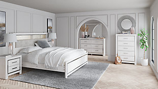 Altyra King Panel Bookcase Bed with Mirrored Dresser, , rollover