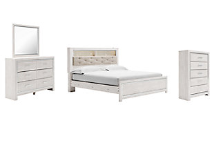 Altyra King Panel Bookcase Bed with Mirrored Dresser and Chest, , large