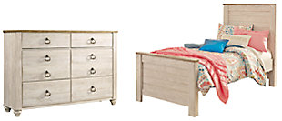 Willowton Twin Panel Bed with Dresser, Whitewash, large