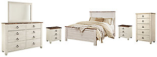 Willowton Queen Panel Bed with Mirrored Dresser, Chest and 2 Nightstands, Whitewash, large