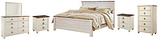 Willowton King Panel Bed with Mirrored Dresser, Chest and 2 Nightstands, Whitewash, large
