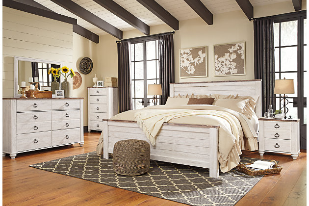 Willowton King Panel Bed, Whitewash, large