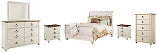 Willowton Queen Sleigh Bed with Mirrored Dresser, Chest and 2 Nightstands, Whitewash, large
