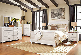 Willowton Queen Sleigh Bed with Mirrored Dresser, Chest and Nightstand, Whitewash, rollover