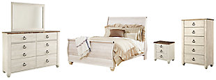 Willowton Queen Sleigh Bed with Mirrored Dresser, Chest and Nightstand, Whitewash, large