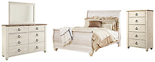 Willowton Queen Sleigh Bed with Mirrored Dresser and Chest, Whitewash, large