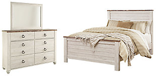 Willowton Queen Panel Bed with Mirrored Dresser, , large