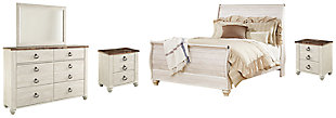 Willowton Queen Sleigh Bed with Mirrored Dresser and 2 Nightstands, Whitewash, large