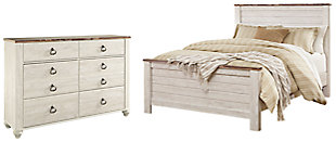 Willowton Queen Panel Bed with Dresser, Whitewash, large
