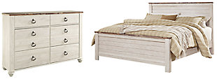 Willowton King Panel Bed with Dresser, Whitewash, large