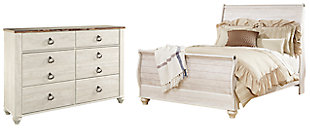 Willowton Queen Sleigh Bed with Dresser, Whitewash, large