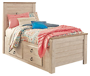 Willowton Twin Panel Bed with 2 Storage Drawers, Whitewash, large