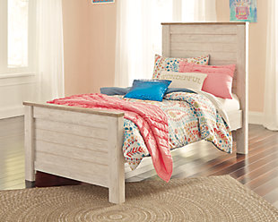 Willowton Twin Panel Bed, Whitewash, rollover
