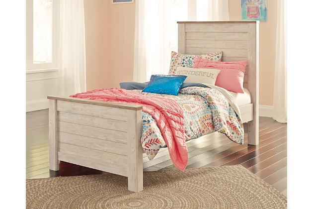 Willowton Twin Panel Bed, Whitewash, large