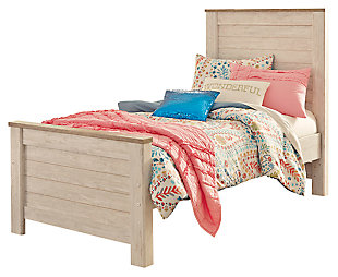 Willowton Twin Panel Bed, Whitewash, large