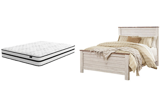 Willowton Queen Panel Bed with Mattress, , large
