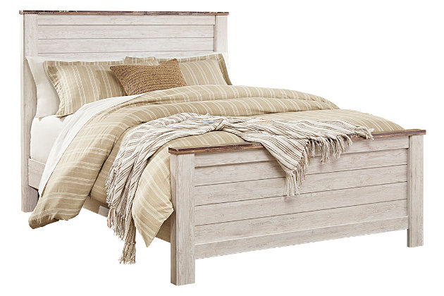 Willowton Queen Panel Bed, Whitewash, large