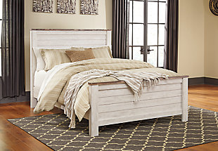 Willowton Queen Panel Bed, Whitewash, rollover